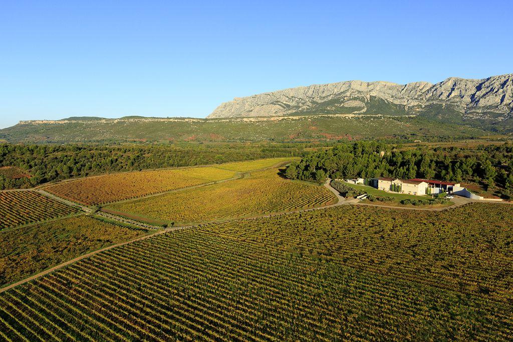 France, Bouches du Rhone (13), Pays d'Aix, Grand Site Sainte Victoire, Puyloubier, Chateau Gassier, AOC Cotes de Provence (vue aerienne)
